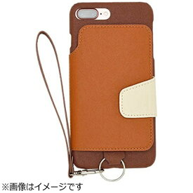 CHEERO チーロ iPhone 7 Plus用 レザーケースRAKUNI LIGHT PU Leather Case Book Type with Strap ブラウン RCB-7P BR