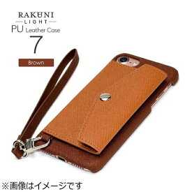 CHEERO チーロ iPhone 7用 レザーケースRAKUNI LIGHT PU Leather Case Pocket Type with Strap ブラウン RCP-7 BR