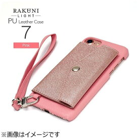 CHEERO チーロ iPhone 7用 レザーケースRAKUNI LIGHT PU Leather Case Pocket Type with Strap ピンク RCP-7 PK