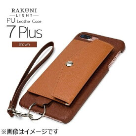 CHEERO チーロ iPhone 7 Plus用 レザーケースRAKUNI LIGHT PU Leather Case Pocket Type with Strap ブラウン RCP-7P BR