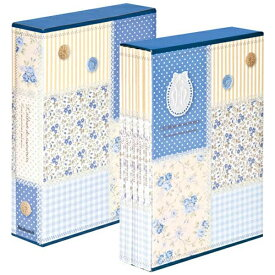 ナカバヤシ Nakabayashi 5冊組ソフトボックスアルバム パッチワーク柄 (ブルー)5PL-270-31-B[5PL27031B]