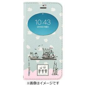 HAMEE ハミィ iPhone 7用 手帳型 ムーミン フリップ窓付きダイアリーケース ムーミン一家/ライトブルー