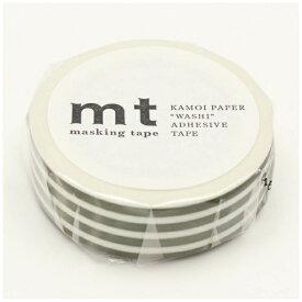 カモ井加工紙 KAMOI mt マスキングテープ mt 1P ボーダー・オリーブ MT01D389