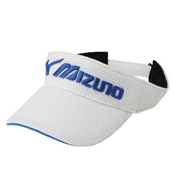 ミズノ メンズ ゴルフバイザー(メンズフリー:56〜60cm/ホワイト×ブルー)52MW702072