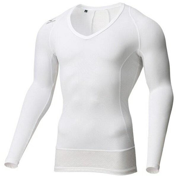 ミズノ メンズ ゴルフウエア Vネック長袖 バイオギア ソーラーカットスーパークール(ホワイト/XLサイズ)52MJ700201