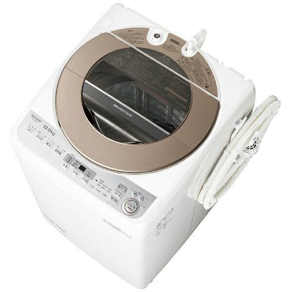 【標準設置費込み】 シャープ 全自動洗濯機 (洗濯10.0kg) ES-GV10B-T ブラウン系