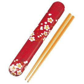 HAKOYA 18.0布貼箸箱セット 33071 赤桜うさぎ[33071]