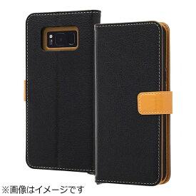 レイアウト rayout Galaxy S8+用 手帳型ケース 2トーンカラー ブラック/オレンジ RT-GS8PELC2/BOR