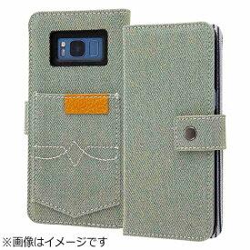 レイアウト rayout Galaxy S8用 手帳型ケース ファブリック デニム ポケット アイスブルー RT-GS8FBC6/IA