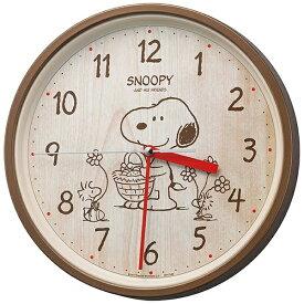 リズム時計 RHYTHM 掛け時計 スヌーピー 茶メタリック色 8MGA40M06