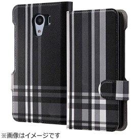 イングレム Ingrem Android One S2用 手帳型ケース マグネット式 オリジナルデザイン チェック/ブラック IJ-CR03LC/AK084
