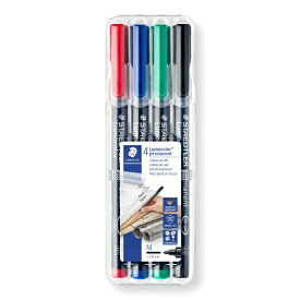 ステッドラー STAEDTLER [油性マーカー] ルモカラーペン 細書きM(線幅0.8〜1.0mm) 4色セット 317-WP4