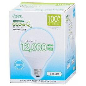 オーム電機 OHM ELECTRIC EFG25ED/20N 電球形蛍光灯 G型 ECOdeQ(エコデンキュウ) ホワイト [E26 /昼光色 /1個 /100W相当 /ボール電球形 /全方向タイプ][EFG25ED20N]