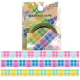 モトバヤシ MOTOBAYASHI マスキングテープ 1.5cm×6m タータンチェックパステル MKT-99[マスキングテープMKT99]