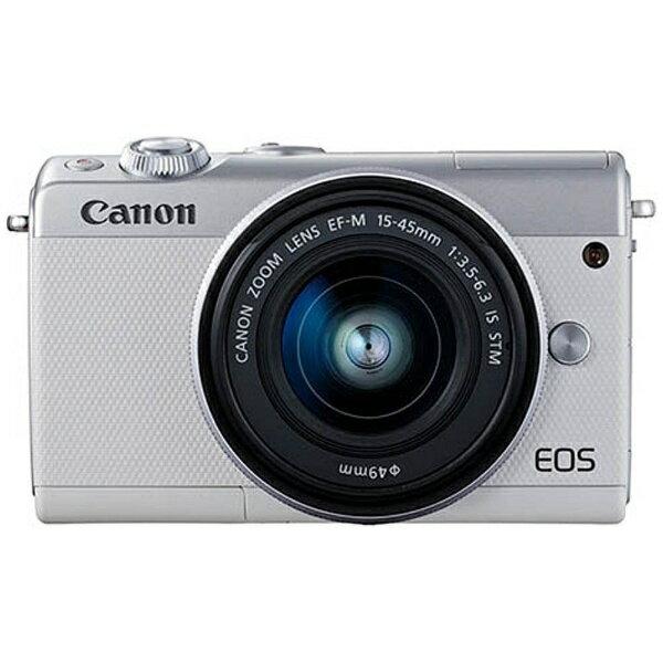 【送料無料】 キヤノン CANON 【6時間限定 1500円クーポン 6/20 20:00〜6/21 1:59】EOS M100【EF-M15-45 IS STM レンズキット】(ホワイト/ミラーレス一眼カメラ)[EOSM100WH1545ISSTMLK]