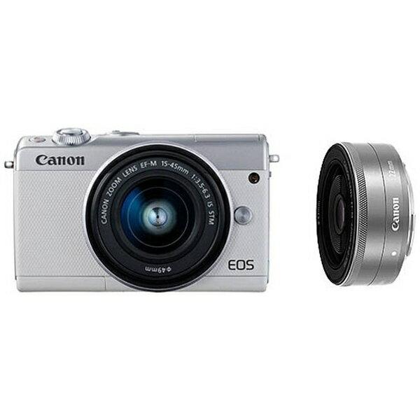 【送料無料】 キヤノン CANON EOS M100【ダブルレンズキット】(ホワイト/ミラーレス一眼カメラ)