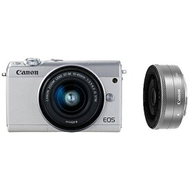 キヤノン CANON EOS M100 ミラーレス一眼カメラ ホワイト [ズームレンズ+単焦点レンズ][EOSM100WHWLK]