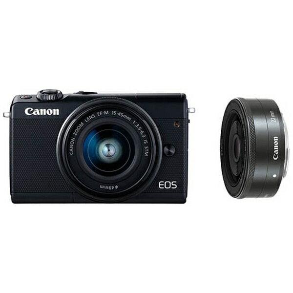 【送料無料】 キヤノン CANON EOS M100【ダブルレンズキット】(ブラック/ミラーレス一眼カメラ)