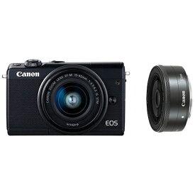 キヤノン CANON EOS M100 ミラーレス一眼カメラ ブラック [ズームレンズ+単焦点レンズ][EOSM100BKWLK]