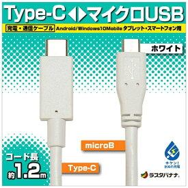 ラスタバナナ RastaBanana [Type-C ⇔ micro USB]ケーブル 充電・転送 1.2m ホワイト RBHE269