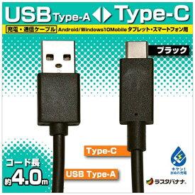 ラスタバナナ RastaBanana [Type-C]ケーブル 充電・転送 4m ブラック RBHE278 [4.0m]