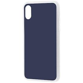 イングレム Ingrem iPhone X用 ハイブリッドガラスケース カラー ダークネイビー INP8CC10DN