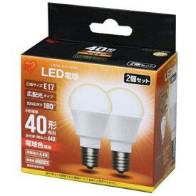 アイリスオーヤマ IRIS OHYAMA 【ビックカメラグループオリジナル】LDA4L-G-E1742BK LED電球 ECOHiLUX(エコハイルクス) ホワイト [E17 /電球色 /2個 /40W相当 /一般電球形 /広配光タイプ][LDA4LGE1742BK]【point_rb】