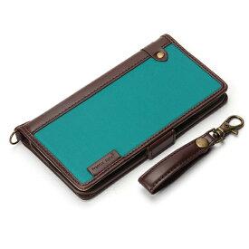 PGA iPhone X用 手帳型 フリップカバー ナイロン生地 ブルーグリーン PG-17XFP23BL