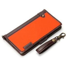 PGA iPhone X用 手帳型 フリップカバー ナイロン生地 オレンジ PG-17XFP22OR