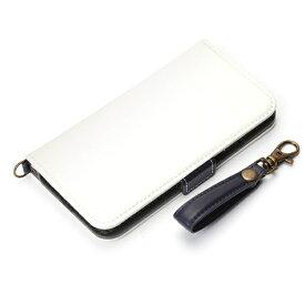 PGA iPhone X用 手帳型 フリップカバー PUレザーダメージ加工 ホワイト PG-17XFP05WH
