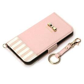 PGA iPhone X用 手帳型 フリップカバー ストライプリボン ピンク PG-17XFP26PK