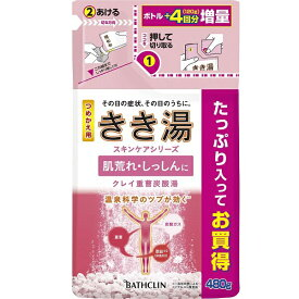 バスクリン BATHCLIN きき湯 クレイ重曹炭酸湯 つめかえ用 (480g) [入浴剤]【rb_pcp】