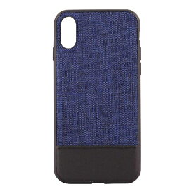 OWLTECH オウルテック iPhone X用 背面ケース ファブリックxPU ブルーxブラック STD OWL-CVIP825-BLBK