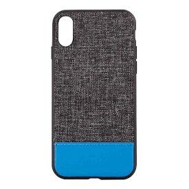 OWLTECH オウルテック iPhone X用 背面ケース ファブリックxPU ブラックxターコイズブルー STD OWL-CVIP825-BKTB
