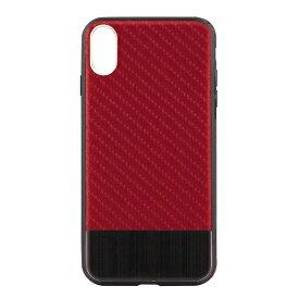 OWLTECH オウルテック iPhone X用 背面ケース カーボン柄 レッドxブラックメタル STD OWL-CVIP823-BKRE