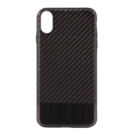 OWLTECH オウルテック iPhone X用 背面ケース カーボン柄 ブラックxブラックメタル STD OWL-CVIP823-BKBK
