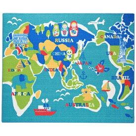 イケヒコ IKEHIKO ラグ ワールド 平織(110×133cm/ブルー)