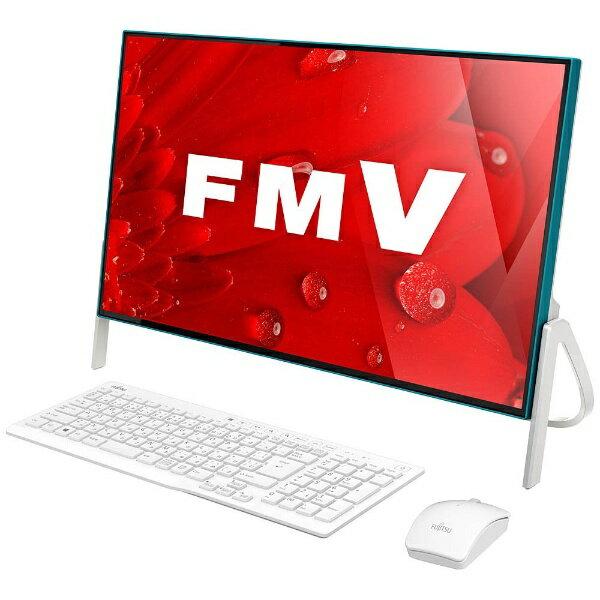 【送料無料】 富士通 23.8型デスクトップPC[Office付き・Win10 Home・Core i3・HDD 1TB・メモリ 4GB] ESPRIMO FH56/B3 ホワイト×アクアブルー FMVF56B3AB(2017年秋冬モデル)