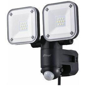 オーム電機 OHM ELECTRIC 【屋外用】コンセント式LEDセンサーライト(2灯)「monban」 LS-A2165B-K
