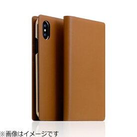 ROA ロア iPhone X用 手帳型レザーケース Calf Skin Leather Diary キャメル SD10543I8