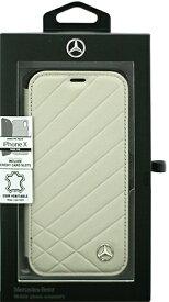 エアージェイ air-J iPhone X用 MERCEDES BENZ 本革手帳型ケース PATTERN II グレー MEFLBKPXCLIGR