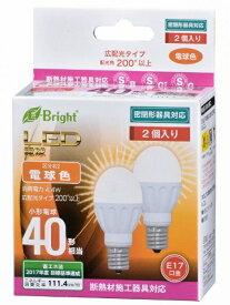 オーム電機 OHM ELECTRIC LDA4L-G-E17IH212P LED電球 小形電球形 E-Bright ホワイト [E17 /電球色 /2個 /40W相当 /一般電球形 /広配光タイプ][LDA4LGE17IH212P]