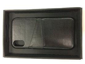 ウイルコム WILLCOM iPhoneX専用背面本革ケースブラック