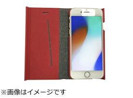 ウイルコム WILLCOM iPhone8専用 手帳型 ラウンドブックケースレッド