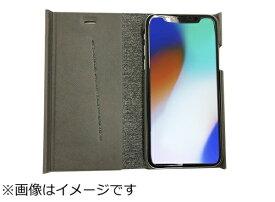 ウイルコム WILLCOM iPhoneX専用 手帳型 ラウンドブックケースグレイ