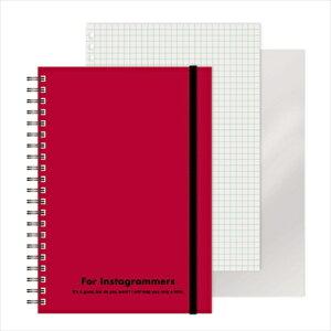 エムプラン M-PLAN [ノート]レフ板のついたリングノートカラード(5mmグリッド罫方眼・A5・50枚・レフ版2枚)レッド 220417-05