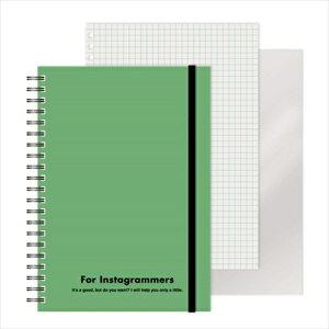 エムプラン M-PLAN [ノート]レフ板のついたリングノートカラード(5mmグリッド罫方眼・A5・50枚・レフ版2枚)グリーン 220417-10
