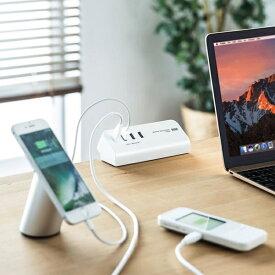 サンワサプライ SANWA SUPPLY クランプ式USB充電器 ホワイト ACA-IP51W [2.0m /3ポート /スイッチ無][ACAIP51W]