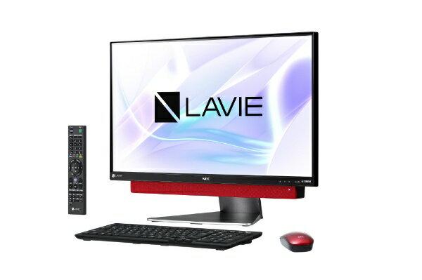 【送料無料】 NEC LAVIE Desk All-in-one DA770/KAシリーズ 23.8型デスクトップPC[TVチューナー搭載・Office付き・Win10 Home・Core i7・HDD 3TB・メモリ 8GB]2018年春モデル PC-DA770KAR メタルレッド [HDD 3TB]