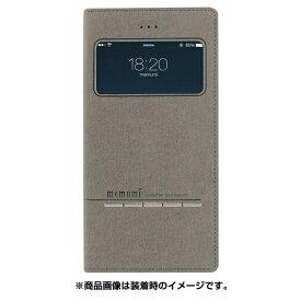 MEMUMI メムミ iPhone 7 Plus用 窓開き超薄型PUレザーケース ファブリック ダーク グレー AFC5054